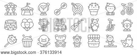 Circus Line Icons. Linear Set. Quality Vector Line Set Such As Seal, Ticket Office, Hot Dog, Caramel