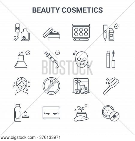 Set Of 16 Beauty Cosmetics Concept Vector Line Icons. 64x64 Thin Stroke Icons Such As Skincare, Medi