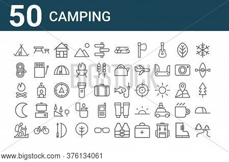 Set Of 50 Camping Icons. Outline Thin Line Icons Such As River, Hiking, Crescent, Bonfire, Rope, Tab