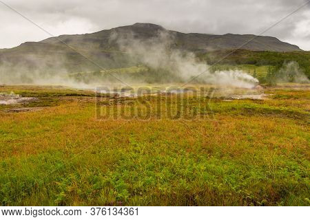 Geothermal Area In The Haukadalur Valley, Golden Circle, Iceland.