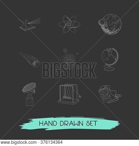 Set Of Scientific Icons Line Style Symbols With Planet With Satellite, Electrons, Cosmology And Othe