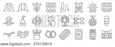 Circus Line Icons. Linear Set. Quality Vector Line Set Such As Drum, Ticket, Hula Hoop, Balancer, Un