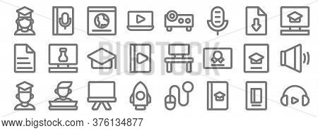 Online Learning Line Icons. Linear Set. Quality Vector Line Set Such As Headphone, Book, Rocket, Gra