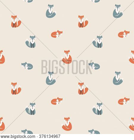 Fox Cartoon, Red And Polar Seamless Pattern, Colorful. Foxes, Red And Polar, Children Illustration P