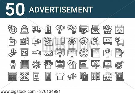 Set Of 50 Advertisement Icons. Outline Thin Line Icons Such As Letter, Website, Smartwatch, Value, M
