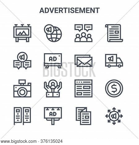 Set Of 16 Advertisement Concept Vector Line Icons. 64x64 Thin Stroke Icons Such As Global Marketing,