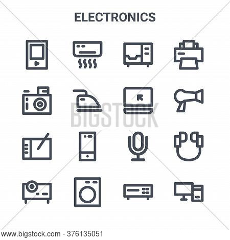 Set Of 16 Electronics Concept Vector Line Icons. 64x64 Thin Stroke Icons Such As Air Conditioner, Di