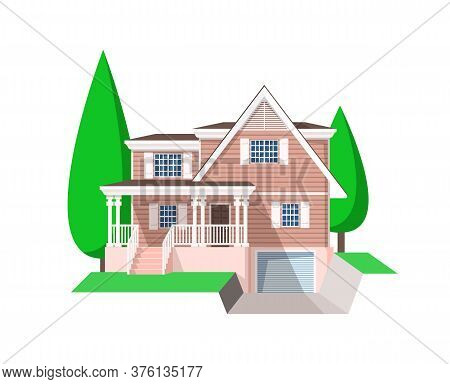 House Building Vector Icon. Village Home, Cottage And Villa, Mansion, Bungalow, Townhouse, Architect