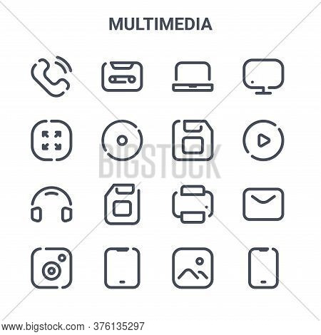Set Of 16 Multimedia Concept Vector Line Icons. 64x64 Thin Stroke Icons Such As Tape, Resize, Video,