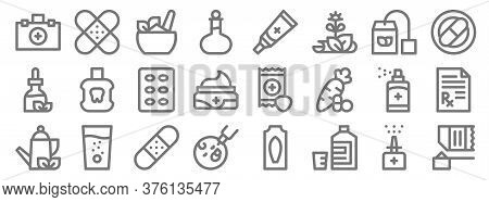 Medicine Line Icons. Linear Set. Quality Vector Line Set Such As Protein Shake, Mixture, Oral Vaccin