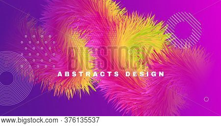 Vibrant Design. 3d Gradient Movement. Abstract Background. Color Trendy Vibrant Design. Geometric Fl