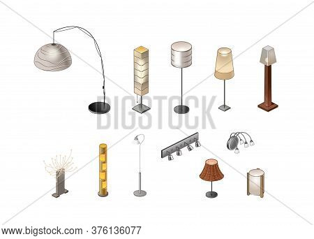Lighting Devices, Floor Lamps, Lamps, Lamps For The Interior, Floor And Wall. Isometry Vector Illust