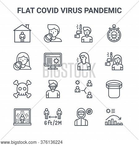 Set Of 16 Flat Covid Virus Pandemic Concept Vector Line Icons. 64x64 Thin Stroke Icons Such As Do No
