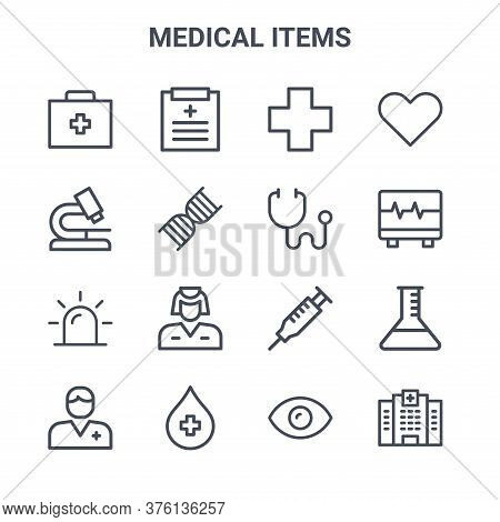 Set Of 16 Medical Items Concept Vector Line Icons. 64x64 Thin Stroke Icons Such As Data, Microscope,