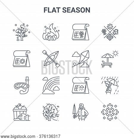Set Of 16 Flat Season Concept Vector Line Icons. 64x64 Thin Stroke Icons Such As Bonfire, Summer, Um