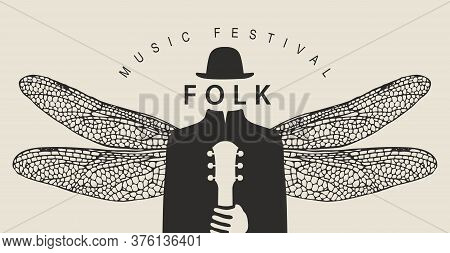 Folk Music Festival Poster With A Mysterious Man Without A Face, But Wearing A Hat With Dragonfly Wi