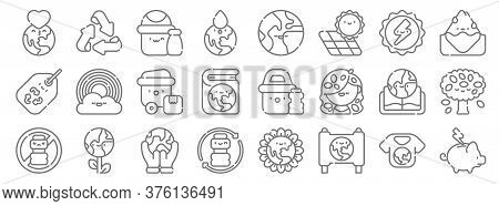 Mother Earth Day Line Icons. Linear Set. Quality Vector Line Set Such As Save Energy, Campaign, Plas
