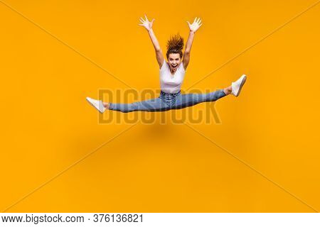 Full Length Body Size View Of Her She Nice Attractive Sporty Slender Crazy Cheerful Girl Jumping Dan