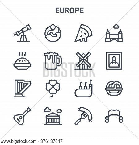 Set Of 16 Europe Concept Vector Line Icons. 64x64 Thin Stroke Icons Such As Europe, Apple Pie, Mona