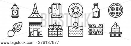 12 Set Of Linear Europe Icons. Thin Outline Icons Such As Saint Paul Cathedral, Beach, Arc, Orujo, B