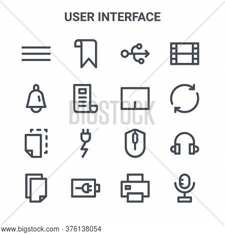 Set Of 16 User Interface Concept Vector Line Icons. 64x64 Thin Stroke Icons Such As Bookmark, Bell,