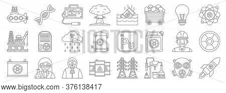 Nuclear Energy Line Icons. Linear Set. Quality Vector Line Set Such As Missile, Laboratory, Oil Tank
