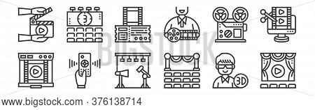 12 Set Of Linear Cinema Icons. Thin Outline Icons Such As Cinema, Theater, Remote Control, Movie Ree