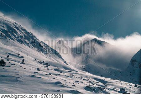 Winter Glacier Mountains Landscape, Andorra Pyrenees, Travel Europe, Clouds.