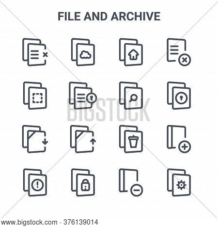 Set Of 16 File And Archive Concept Vector Line Icons. 64x64 Thin Stroke Icons Such As Storage, File,
