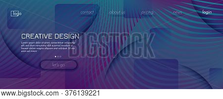 Graphic Fluid. 3d Flow Lines Pattern. Color Futuristic Poster. Memphis Digital Template. Gradient Gr