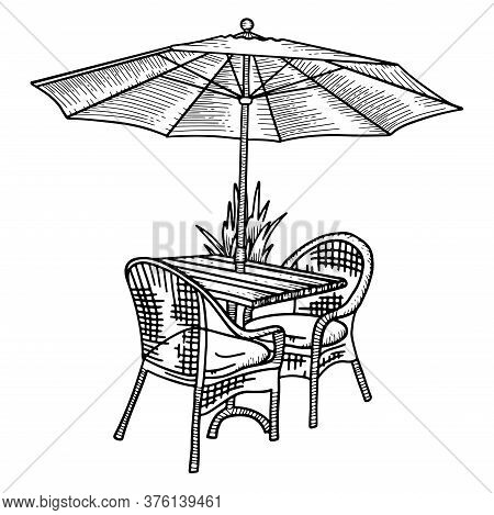 Wooden Table And Two Wickerchairs Under Sun Umbrella. Vector Sketch Hand Drawn Illustration. Black A
