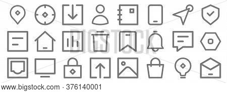 User Interface Line Icons. Linear Set. Quality Vector Line Set Such As Email, Bag, Upload, Inbox, Ch