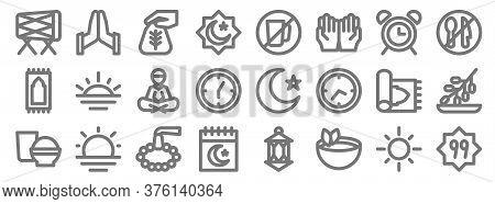Ramadhan Line Icons. Linear Set. Quality Vector Line Set Such As Faith In Allah, Tea, Calendar, Food