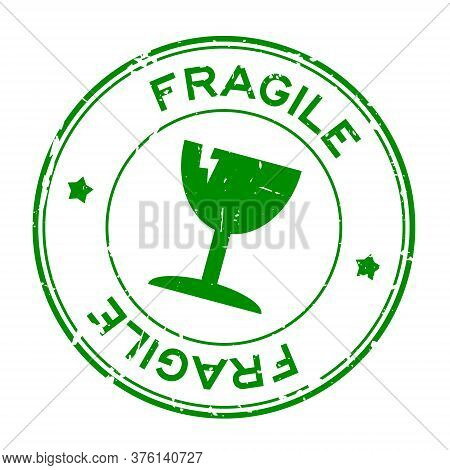 Grunge Green Fragile Word With Broken Cup Icon Round Rubber Seal Stamp On White Background