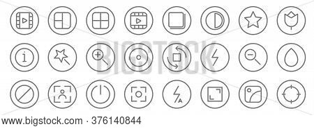 Camera Line Icons. Linear Set. Quality Vector Line Set Such As Target, Full Screen, Camera, Block, Z