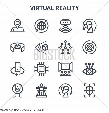 Set Of 16 Virtual Reality Concept Vector Line Icons. 64x64 Thin Stroke Icons Such As Global, Degrees