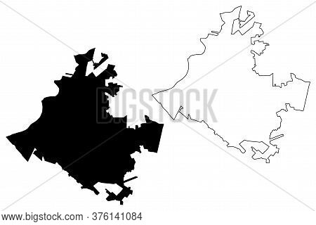Torreon City (united Mexican States, Mexico, Coahuila State) Map Vector Illustration, Scribble Sketc