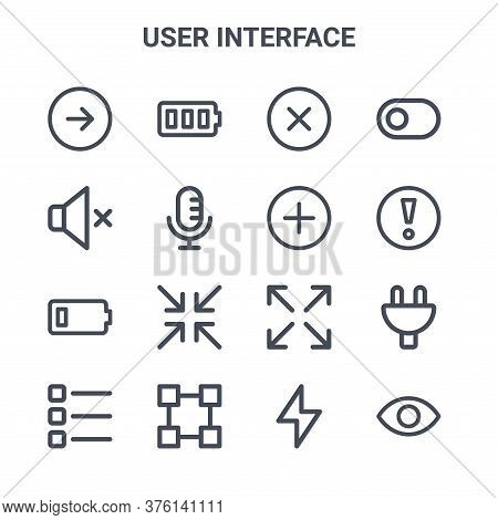Set Of 16 User Interface Concept Vector Line Icons. 64x64 Thin Stroke Icons Such As Battery Full, Si