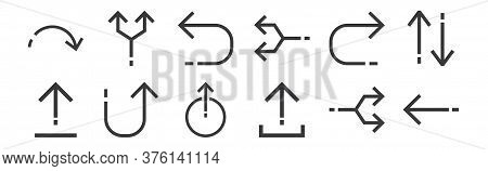 12 Set Of Linear Arrows Icons. Thin Outline Icons Such As Left Arrow, Upload File, Returning, Return