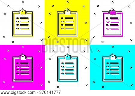 Set Clipboard With Checklist Icon Isolated On Color Background. Control List Symbol. Survey Poll Or