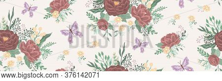 Beautiful Floral Pattern With A Flowers And Butterfly. Floral Seamless Background For Fashion Prints