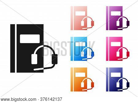 Black Audio Book Icon Isolated On White Background. Book With Headphones. Audio Guide Sign. Online L