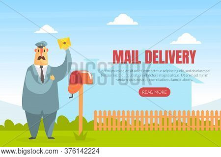 Mail Delivery Landing Page Template, Cheerful Postman Delivering Letter Web Page, Mobile App, Homepa