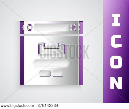 Paper Cut Browser Window Icon Isolated On Grey Background. Paper Art Style. Vector Illustration