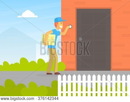 Postman Or Courier Delivering Parcel, Deliveryman Ringing Door Of House Vector Illustration