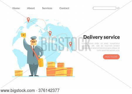 Delivery Service Landing Page Template, Cheerful Postman In Uniform Delivering Parcels Web Page, Mob