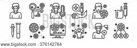 12 Set Of Linear Virus Icons. Thin Outline Icons Such As Virus, Excercise, Virus, Avatar, Avatar, An