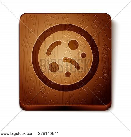 Brown Bacteria Icon Isolated On White Background. Bacteria And Germs, Microorganism Disease Causing,