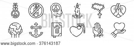 12 Set Of Linear Hope Icons. Thin Outline Icons Such As Love, Grenade, Anchor, Rosary, Peace, No War