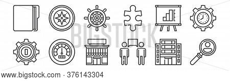 12 Set Of Linear Management Icons. Thin Outline Icons Such As Human Resources, Communication, Perfor